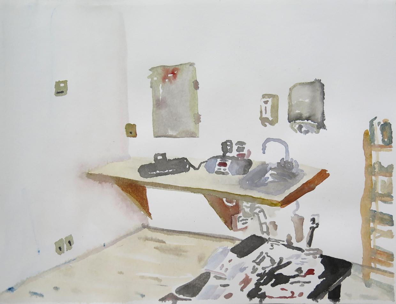 Studio, Dale 02   Watercolour on paper, 10.6 in. x 13.8 in. 2013