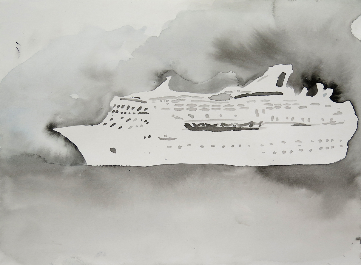 Untitled (cruise ship)  Ink and watercolour on paper, 10.6 in. x 13.8 in. 2013