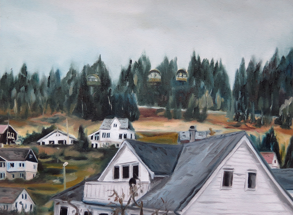 Untitled (Dale houses)   12 in. x 16 in. Oil on paper, 2013