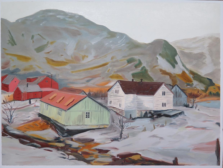 Farm houses near Dale   19.75 in. x 25.5 in. Oil on paper, 2013