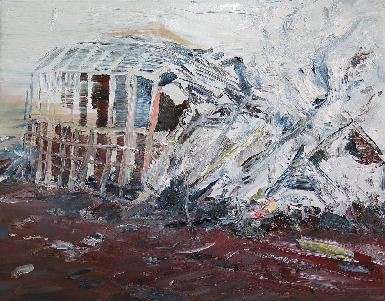 """""""Veteran's Stadium"""", Oil on canvas, 16"""" x 20"""", 2014"""