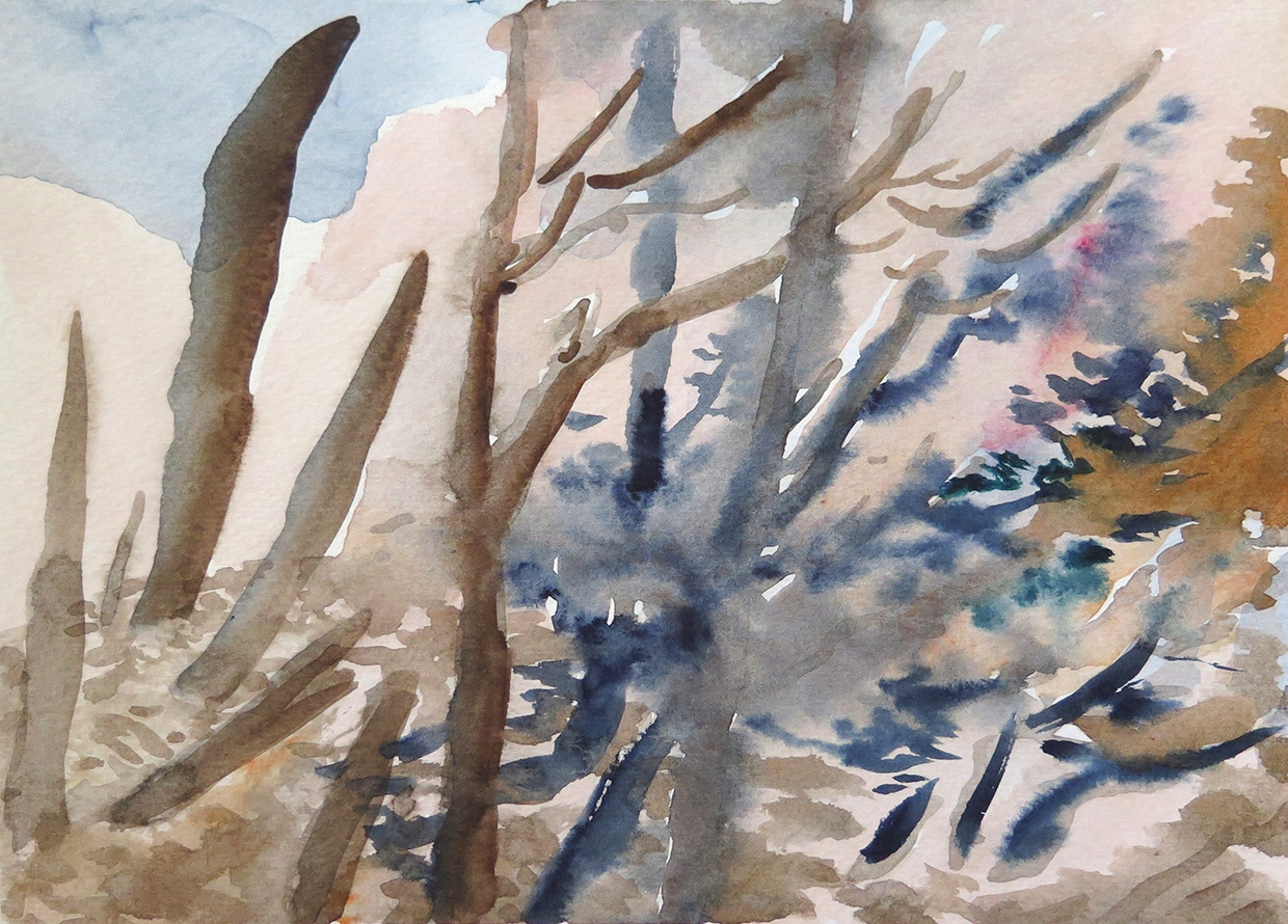 """""""Forest Outside Graz 03""""Watercolour on paper, 6.75"""" x 9.25"""", 2014."""