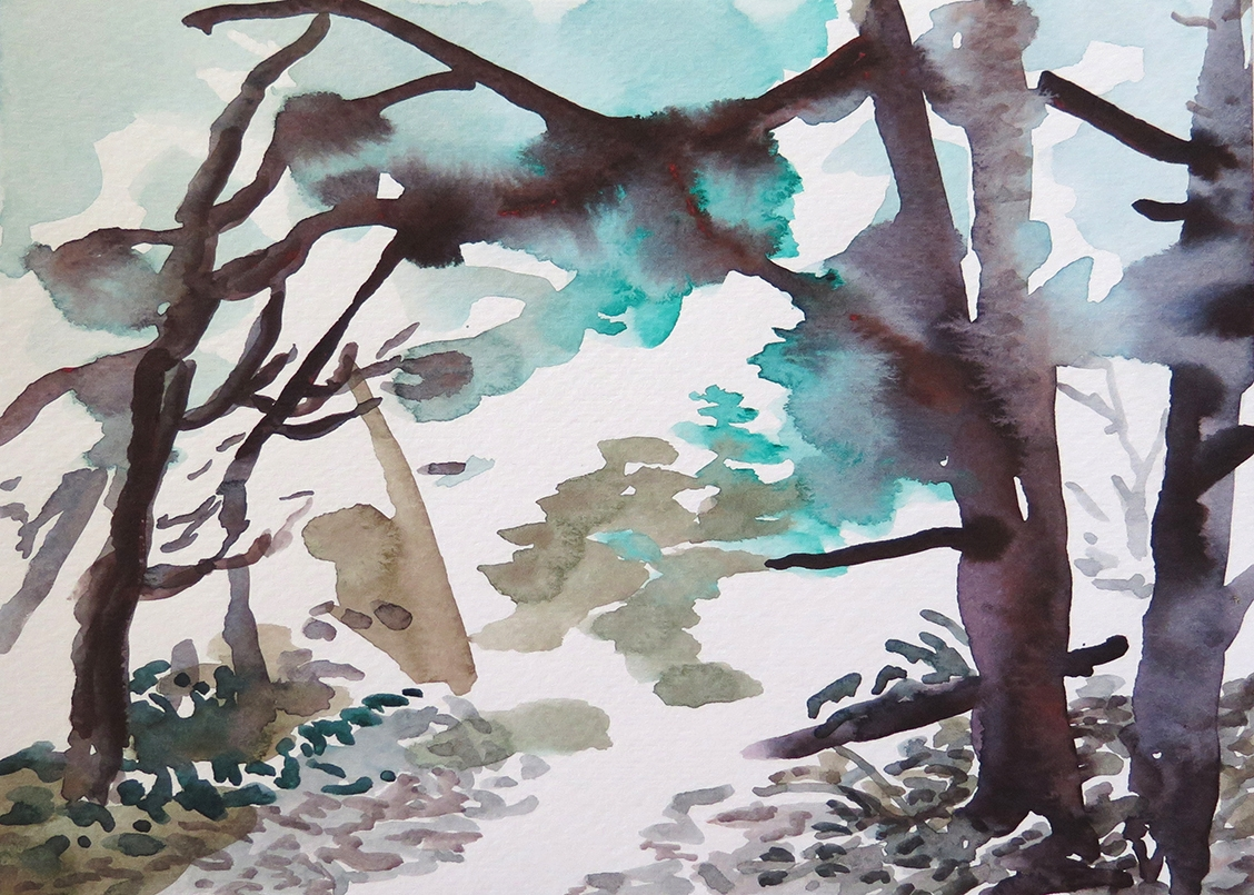 """""""Forest Outside Graz 04"""" Watercolour on paper, 6.75"""" x 9.25"""", 2014."""