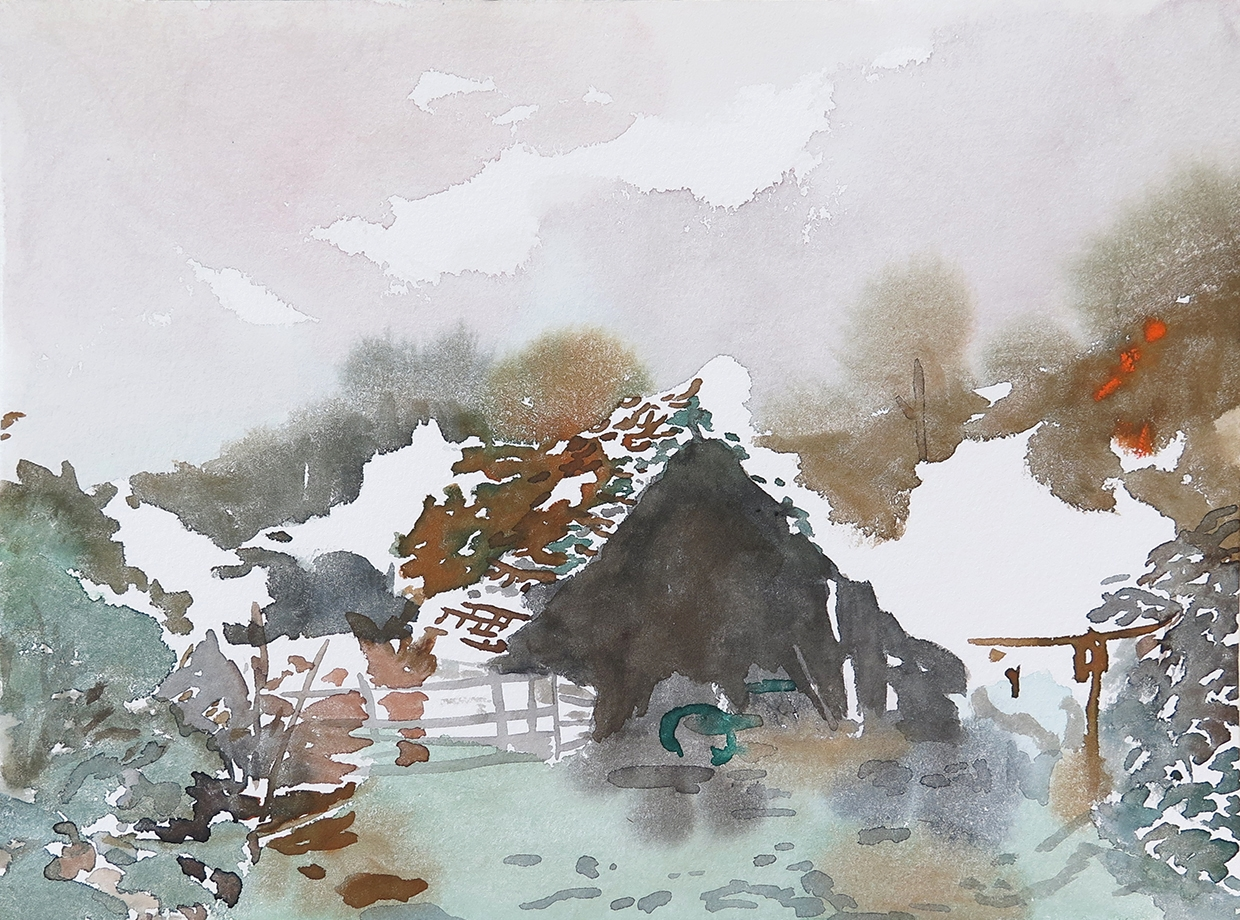 """""""Run Down Shed""""Watercolour on paper, 9"""" x 12"""", 2014."""