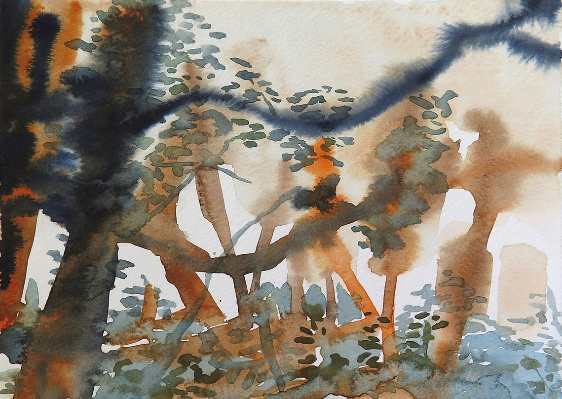 """""""Forest Outside Graz 06"""" Watercolour on paper, 6.75"""" x 9.25"""", 2014."""