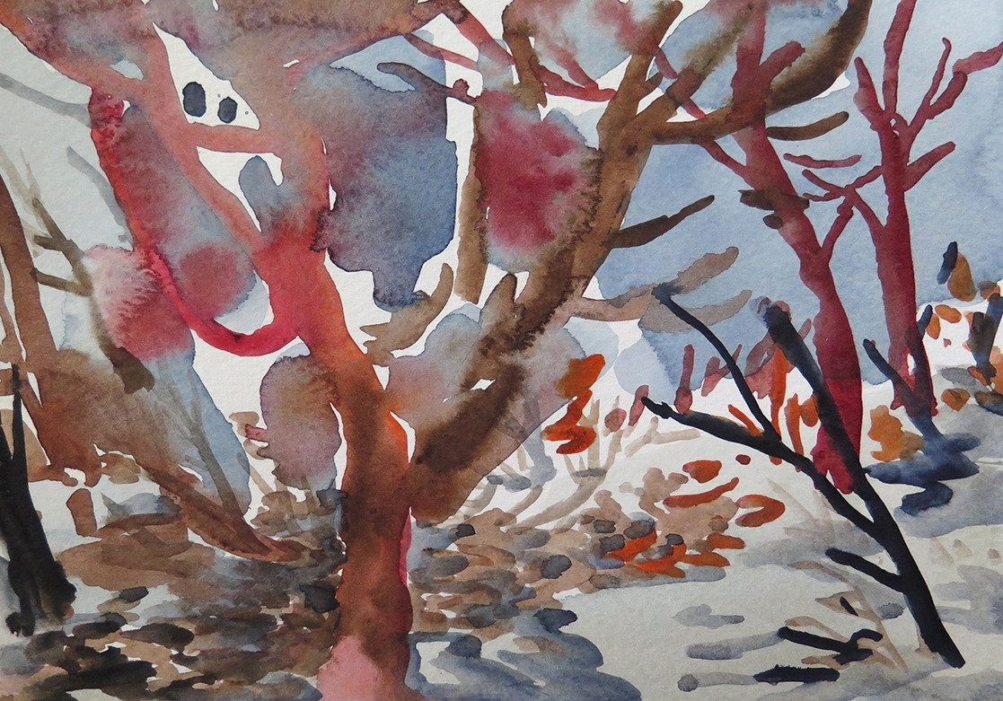 """""""Forest Outside Graz 07"""" Watercolour on paper, 6.75"""" x 9.25"""", 2014."""