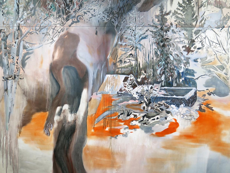 Untitled (studio installation), 2014.Oil on canvas. 12 ft. X 20 ft.