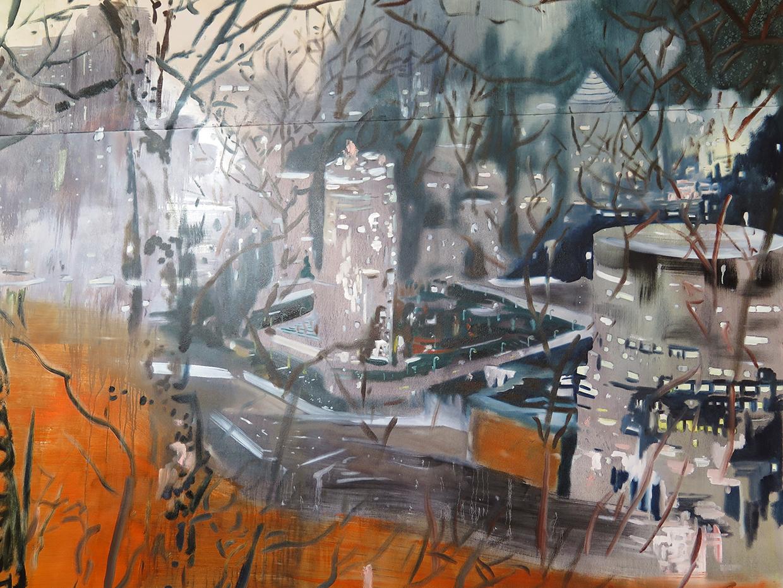 Untitled (studio installation), 2014. Oil on canvas. 12 ft. X 20 ft.