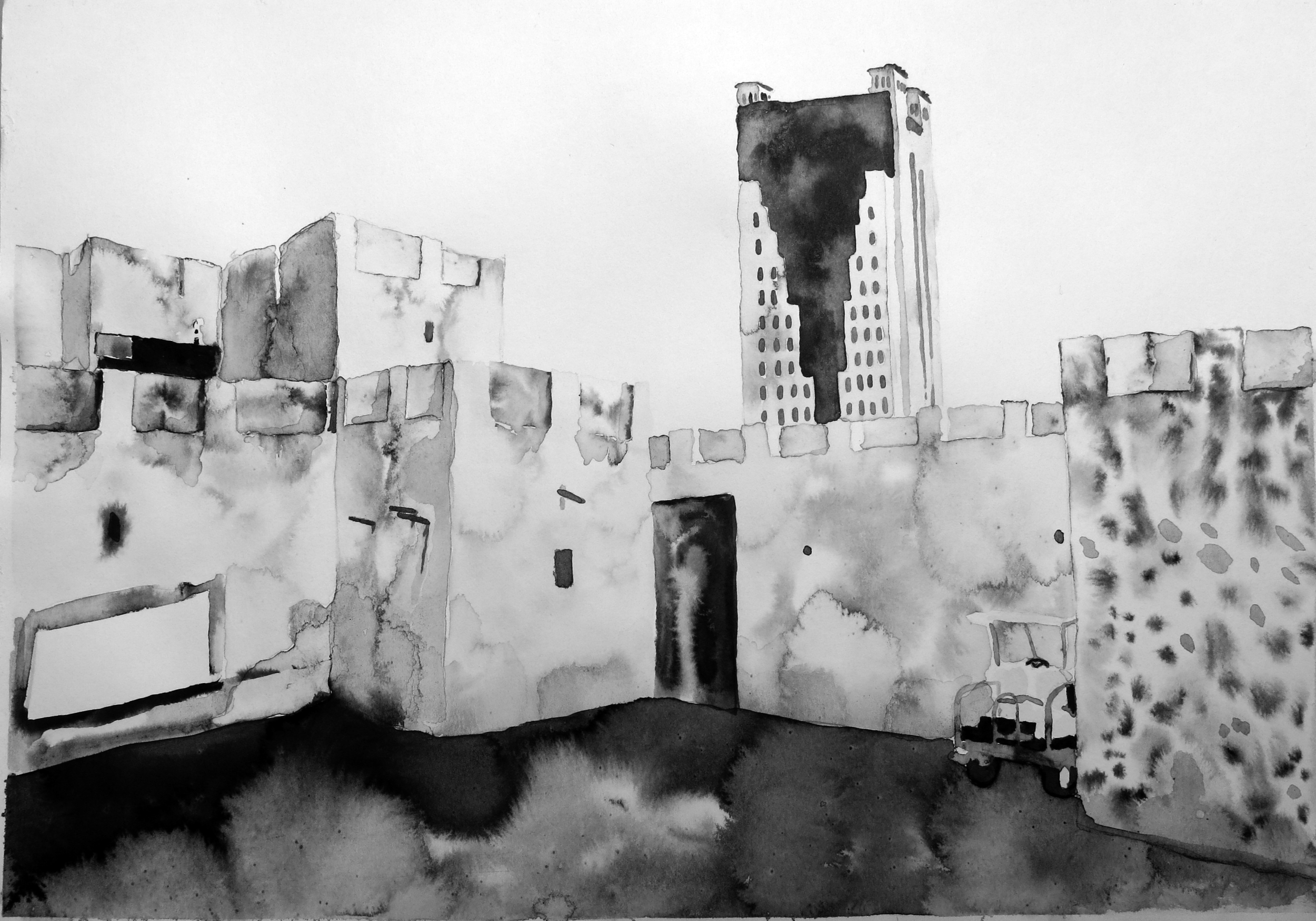 """Untitled (Sharjah Drawing 06)"" Ink on paper, 16"" x 20"", 2013"