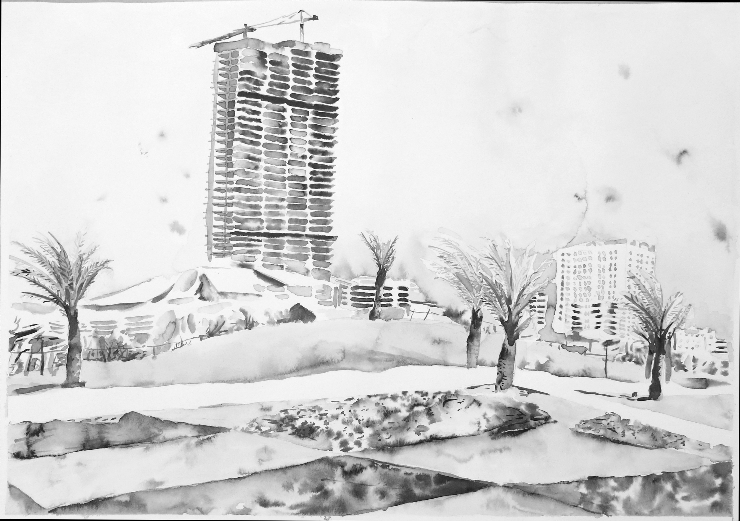 """Untitled (Sharjah Drawing 09)"" Ink on paper, 16"" x 20"", 2013"