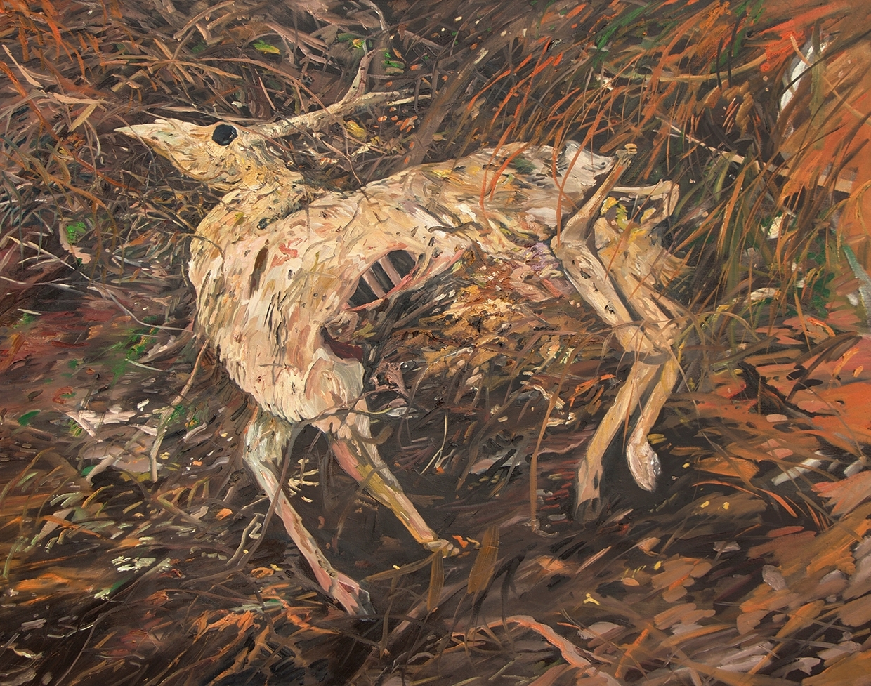 """Dead Deer"" Oil on canvas, 48"" x 60"""