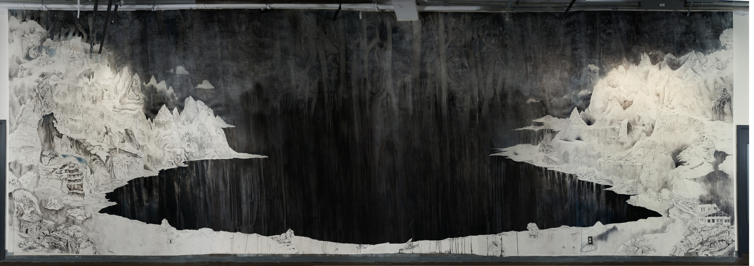 A Hole in the World, 2014. Ink and graphite on paper (wallpapered on corridor wall)15 ft. X 50 ft.  Photo by Paul Litherland
