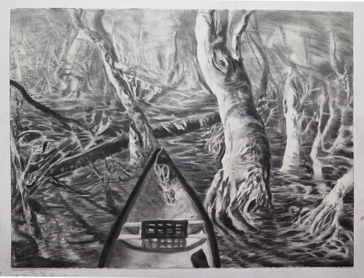 """Untitled, charcoal on paper, 22"""" x 30"""""""
