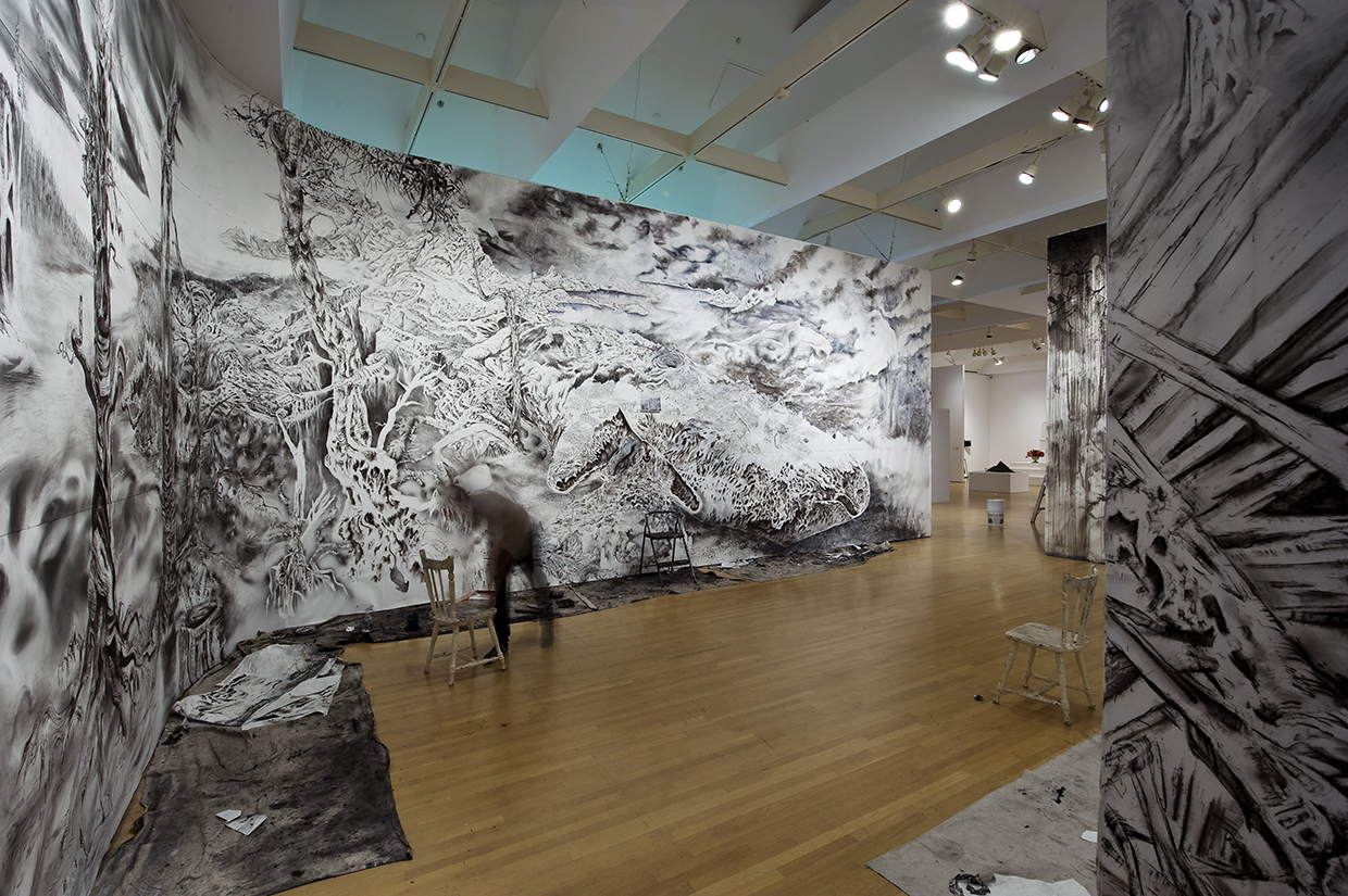 """""""Quagmire"""" Ink, charcoal, graphite, gesso and watercolour on paper. 15' X 95'. 2011. Photo documentation by Yannick Grandmont."""