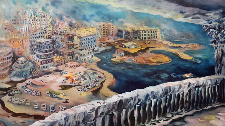 """""""Lagoon"""" Oil on canvas, 54"""" x 99"""