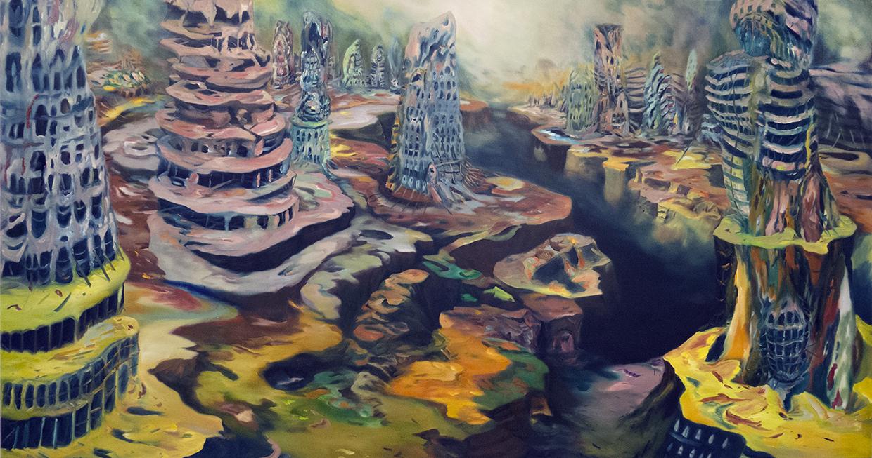 """""""Edge City"""" Oil on canvas, 53"""" x 103"""""""