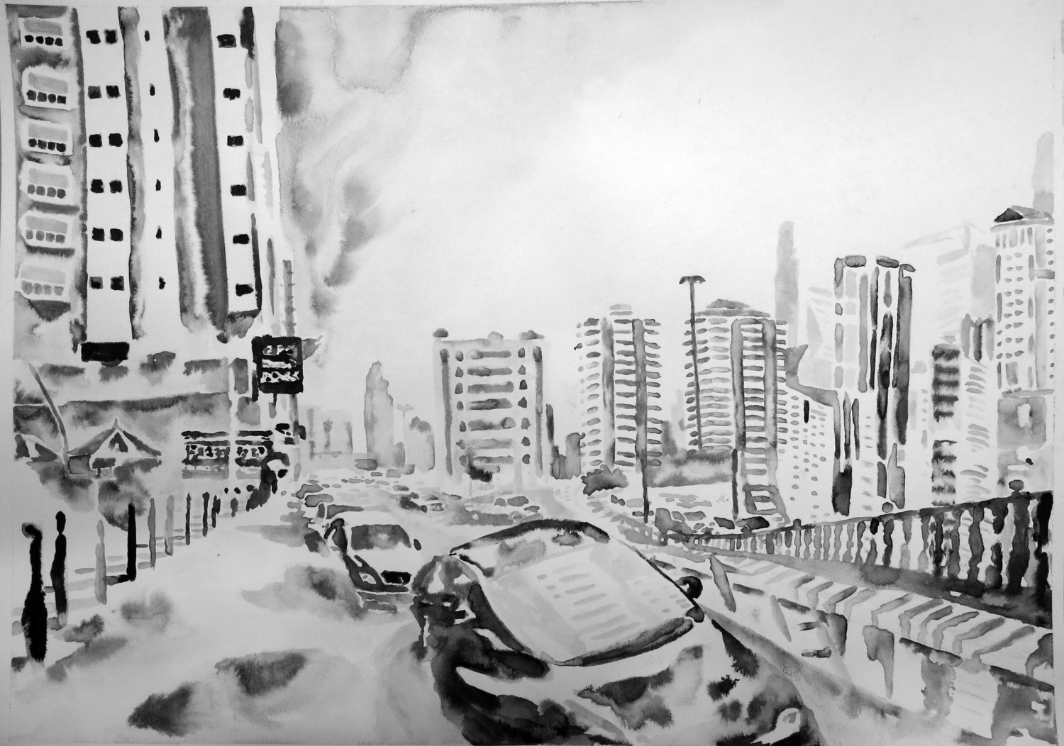 """""""Untitled (Sharjah Drawing 02)"""" Ink on paper, 16"""" x 20"""", 2013"""
