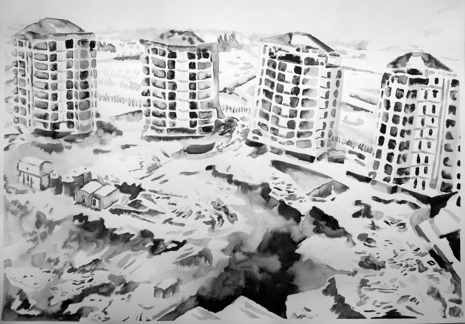 """""""Untitled (Sharjah Drawing 03)"""" Ink on paper, 16"""" x 20"""", 2013"""