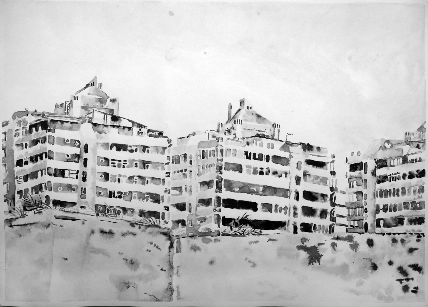 """""""Untitled (Sharjah Drawing 04)"""" Ink on paper, 16"""" x 20"""", 2013"""