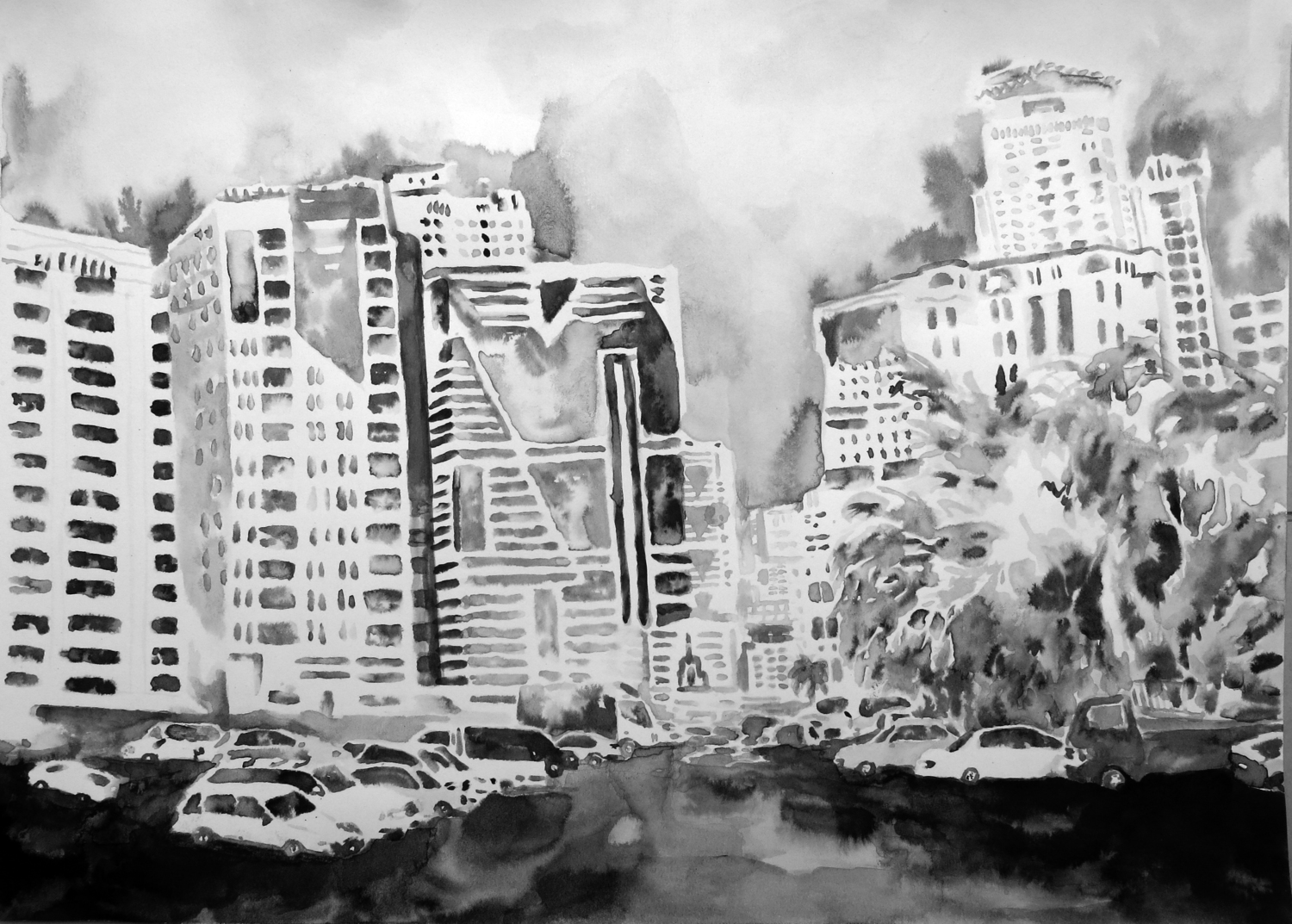 """""""Untitled (Sharjah Drawing 05)"""" Ink on paper, 16"""" x 20"""", 2013"""