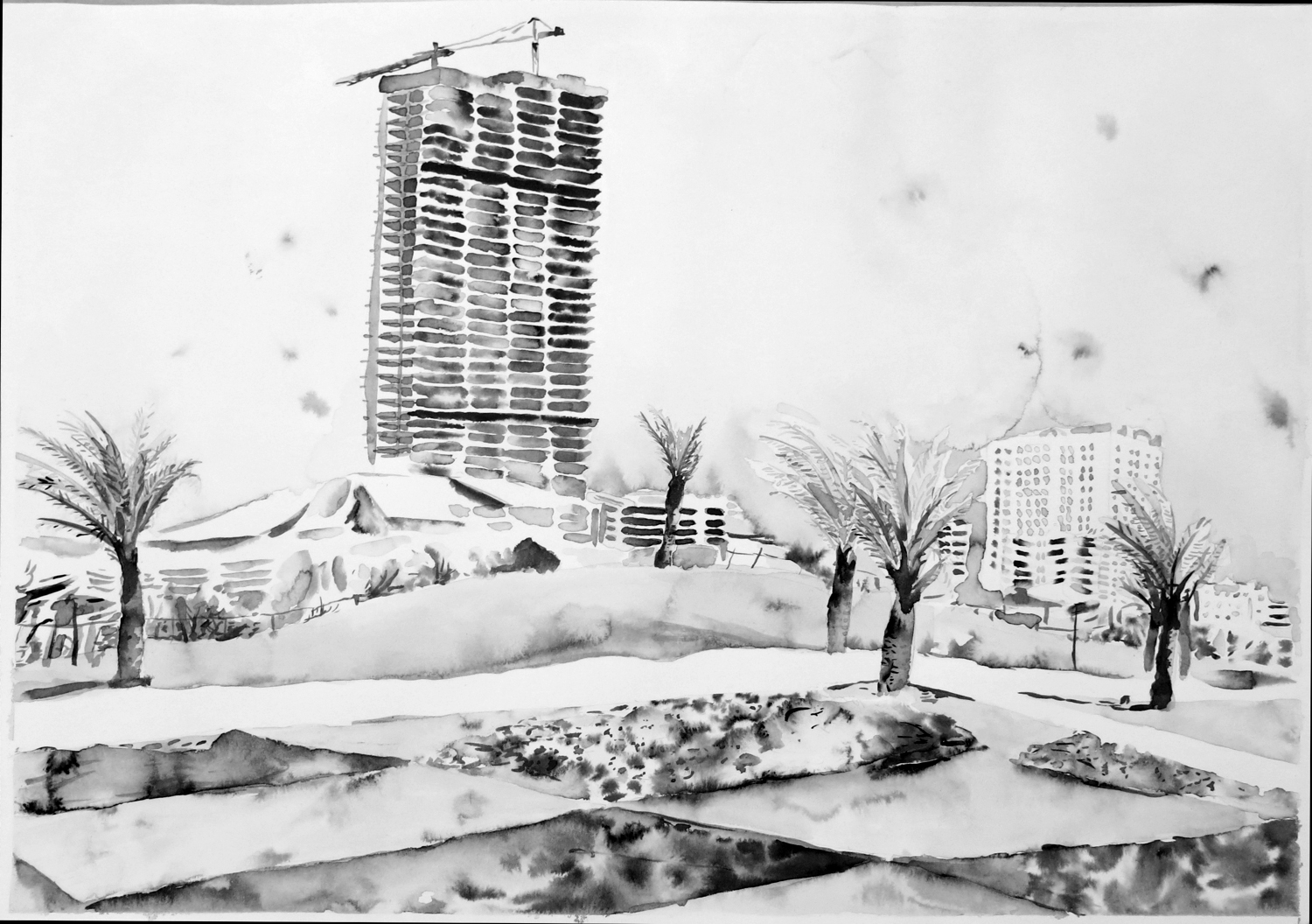 """""""Untitled (Sharjah Drawing 09)"""" Ink on paper, 16"""" x 20"""", 2013"""