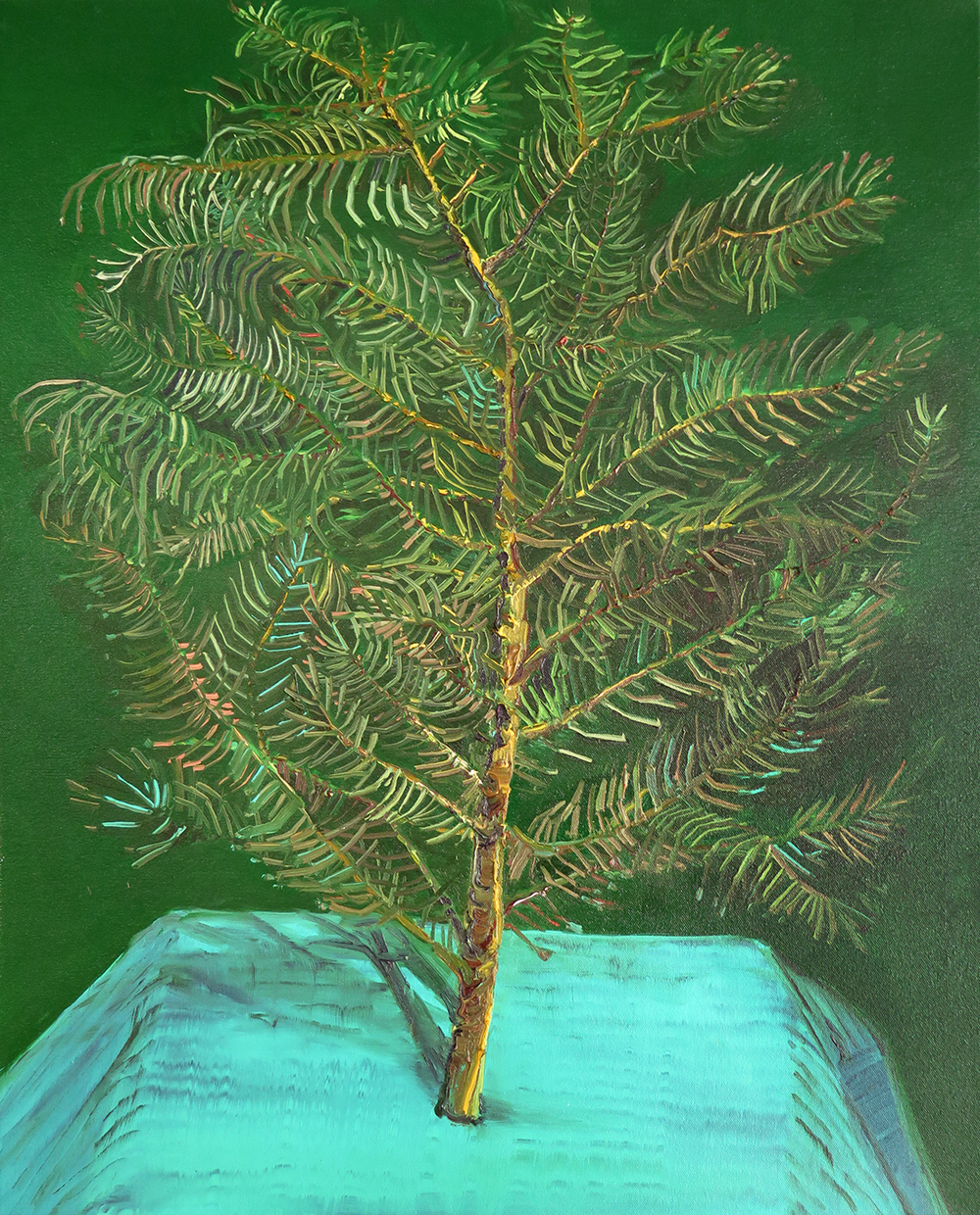 """Pine Branch"" Oil on canvas, 30"" x 24"""