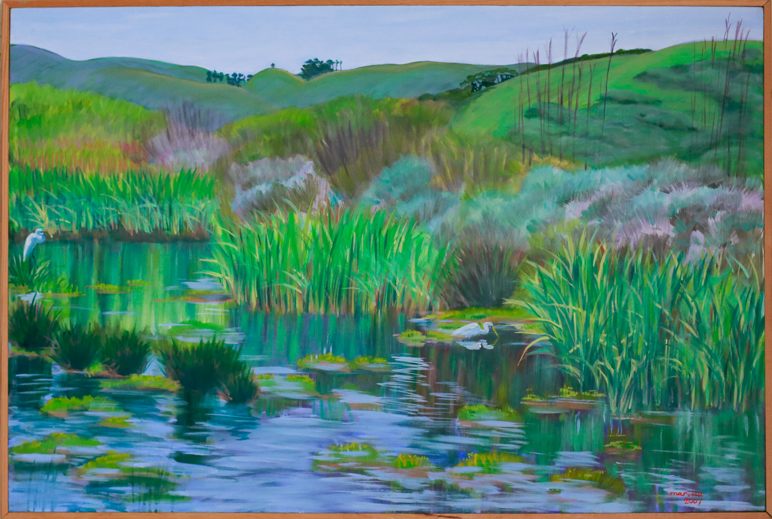 "Marsh with Egrets // Oil on canvas // 24"" x 36"""