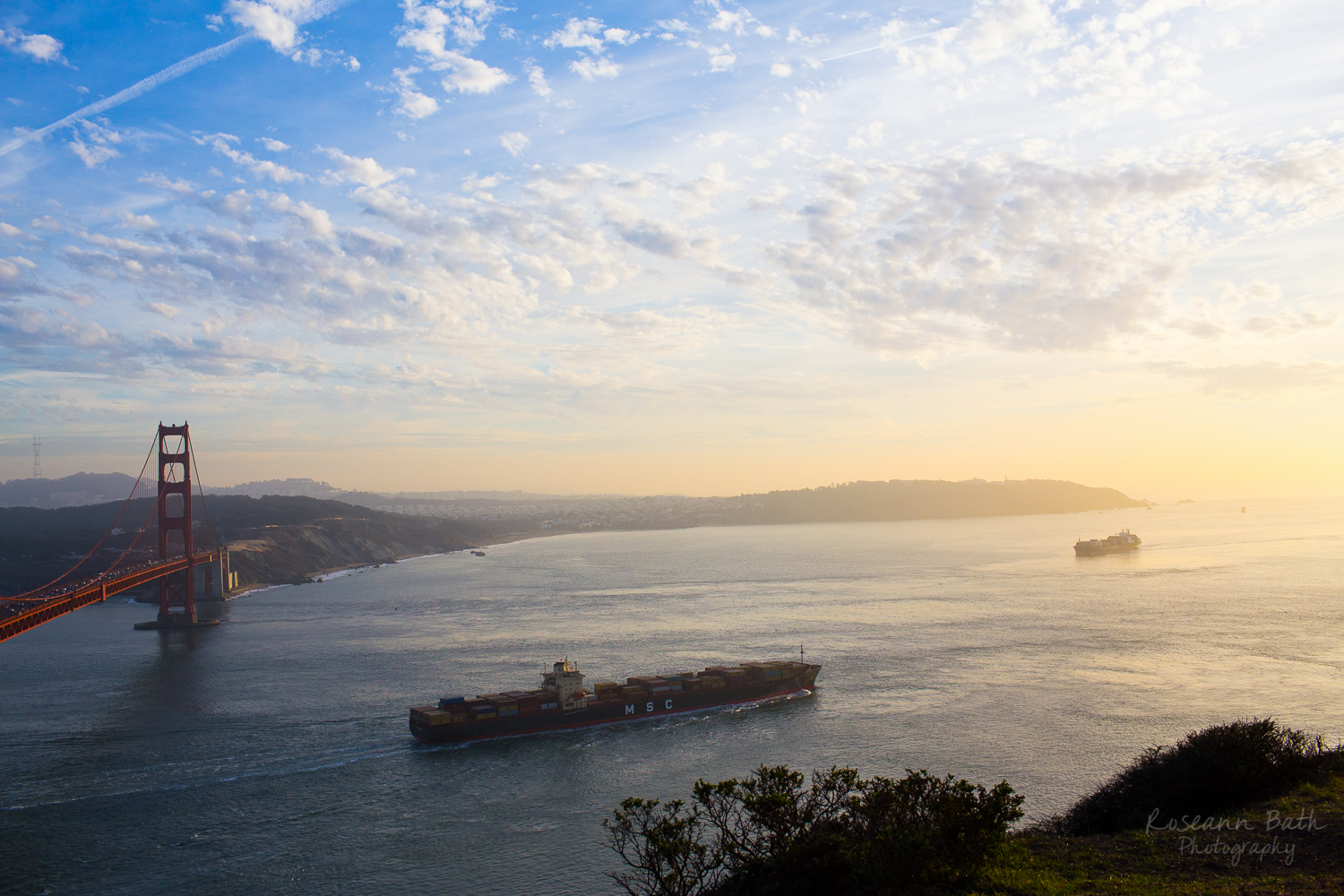 two container ships golden gate