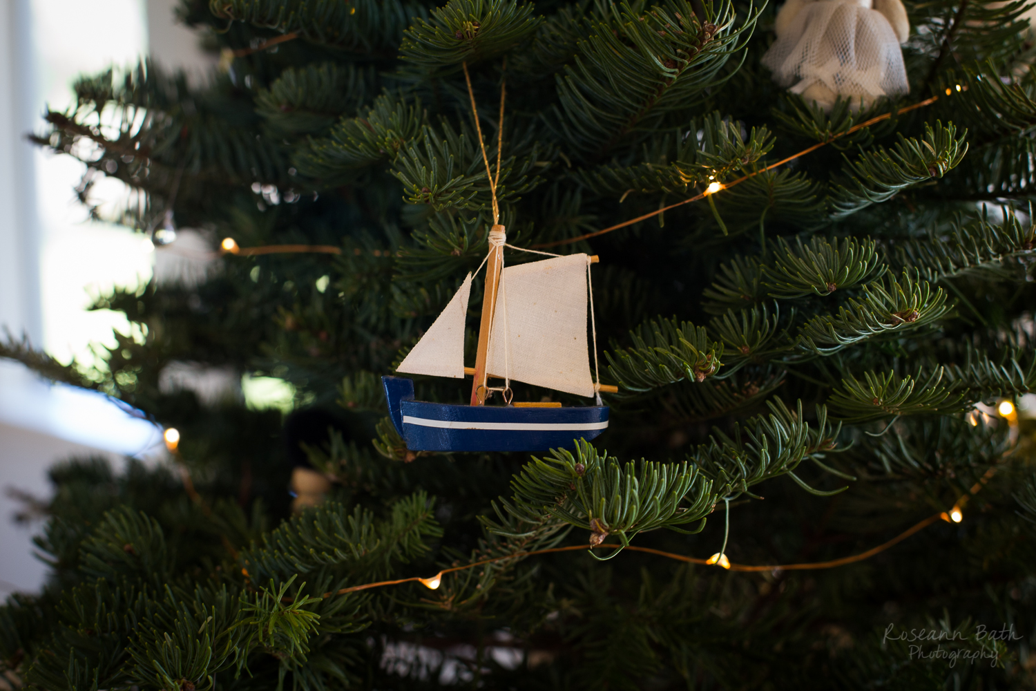 boat ornament and metal lights