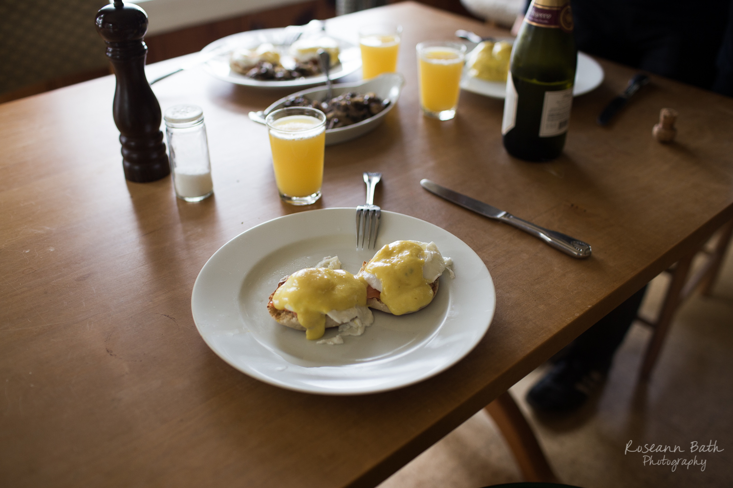 Smoked Salmon Eggs Benedict and Mimosas