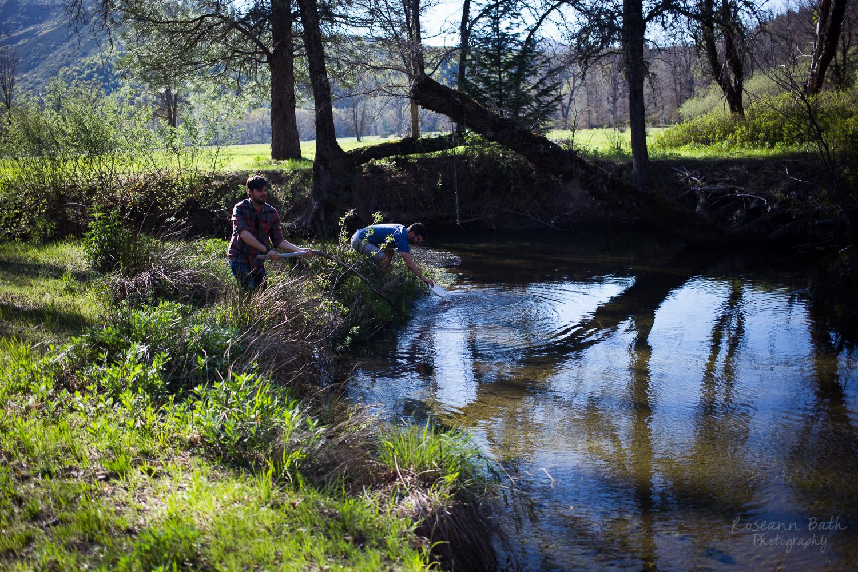 frisbee in the creek