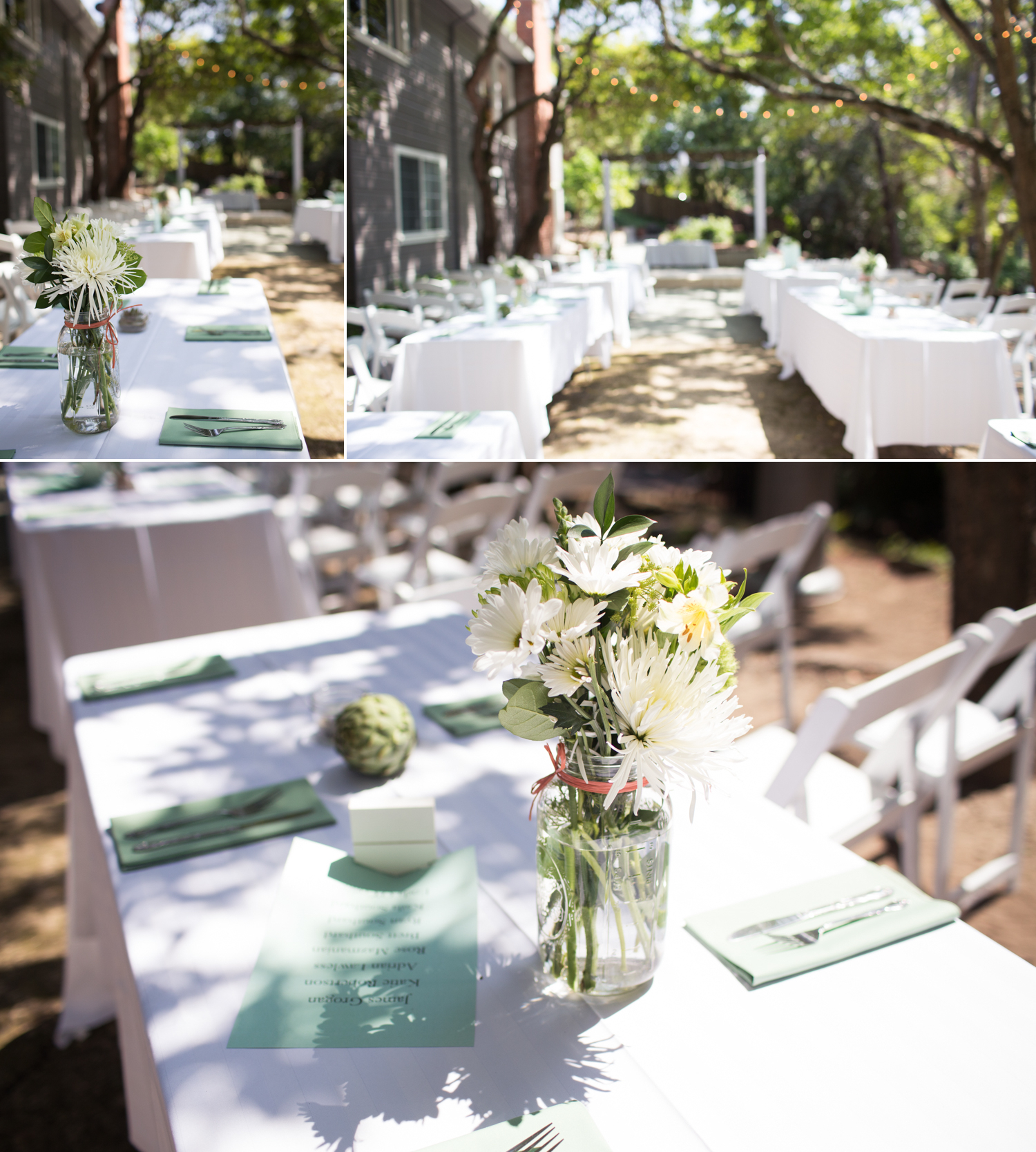 table arrangement green and white