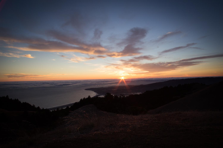 sunset from mount tam overlooking stinson beach