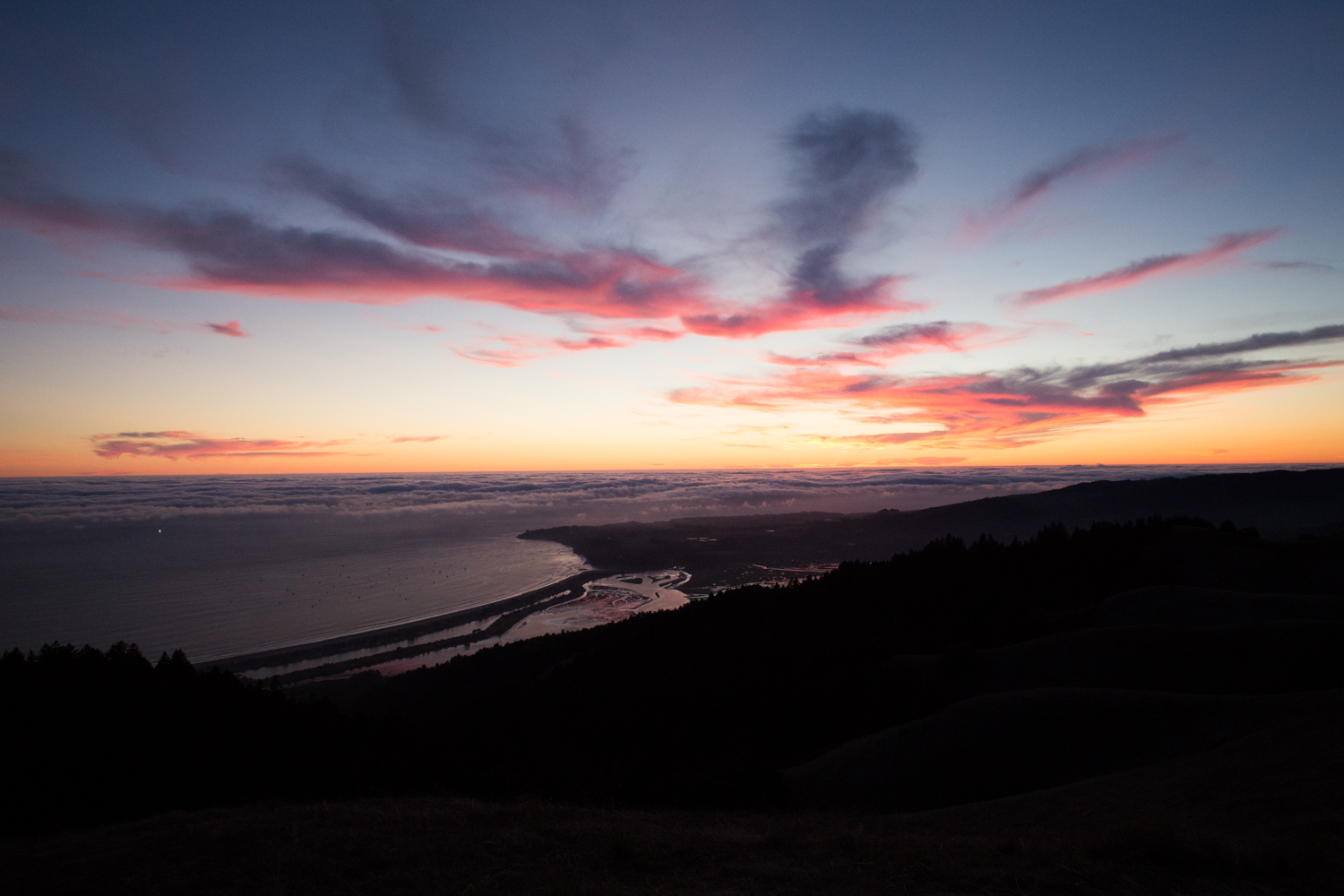 sunset from Mount Tam overlooking Bolinas Lagoon