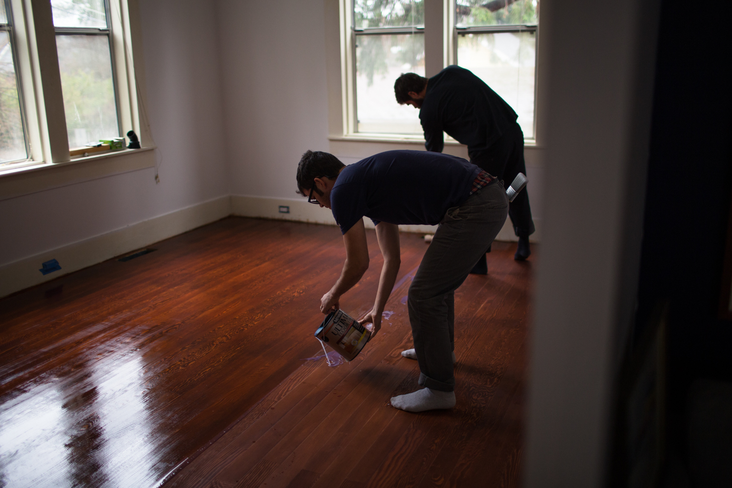 We used Minwax Ultimate Floor Finish in Satin, which is also water-based (no fumes!).Applied the first two coats and did a light sanding before the final coat.