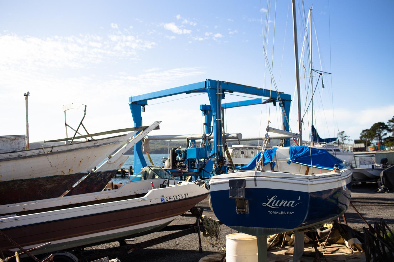 tomales bay boats docked at marshall store