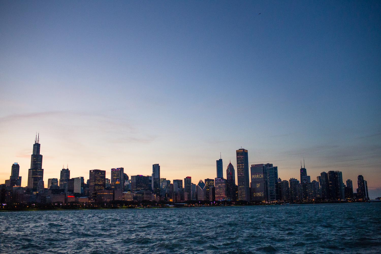 chicago city scape from alder planetarium