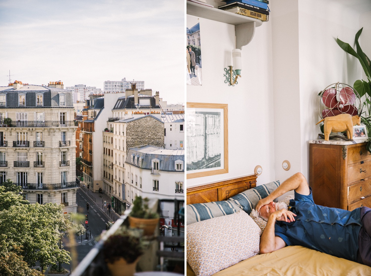 The view from our apartment in Paris and one very tired grandpa.