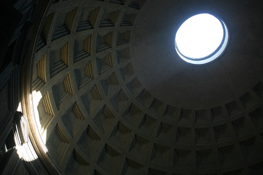 The oculus in the dome of the Pantheon provides lots of natural light. The amount of thought and skill that went into building this is incredible.
