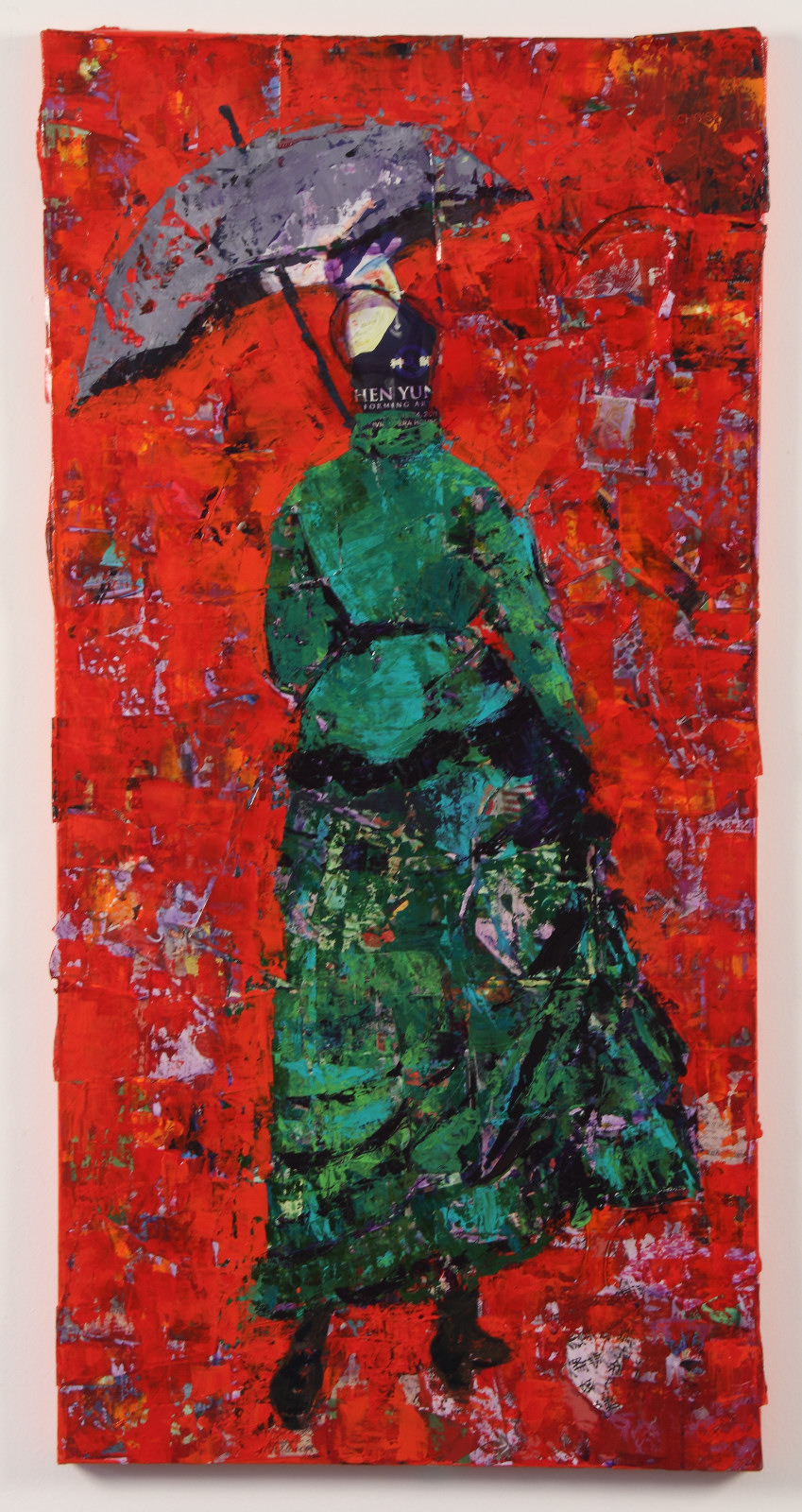 Inclement: green on red, 48 x 20, Mixed Media