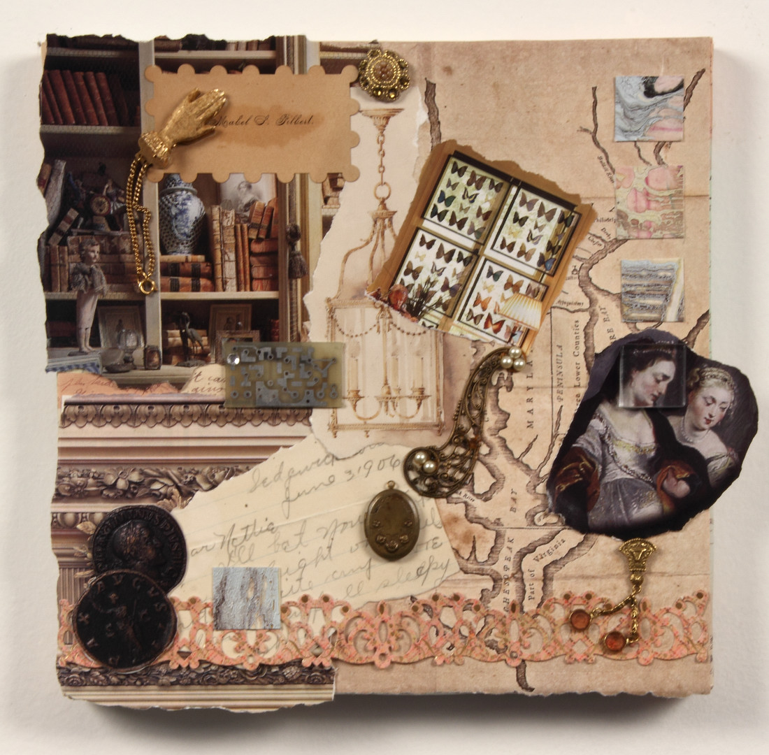 Colleen, 10 x 10, Mixed Media and found objects