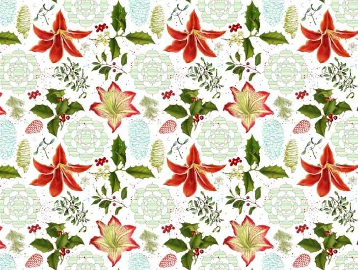 Amaryllis Mandala Wrapping Paper Pattern