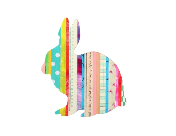 Collage Stripes Woodland Bunny
