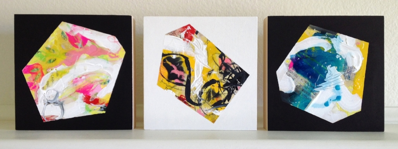 Him Her They, Mixed media triptych, three panels, 6 x 6 x 1.5 inches
