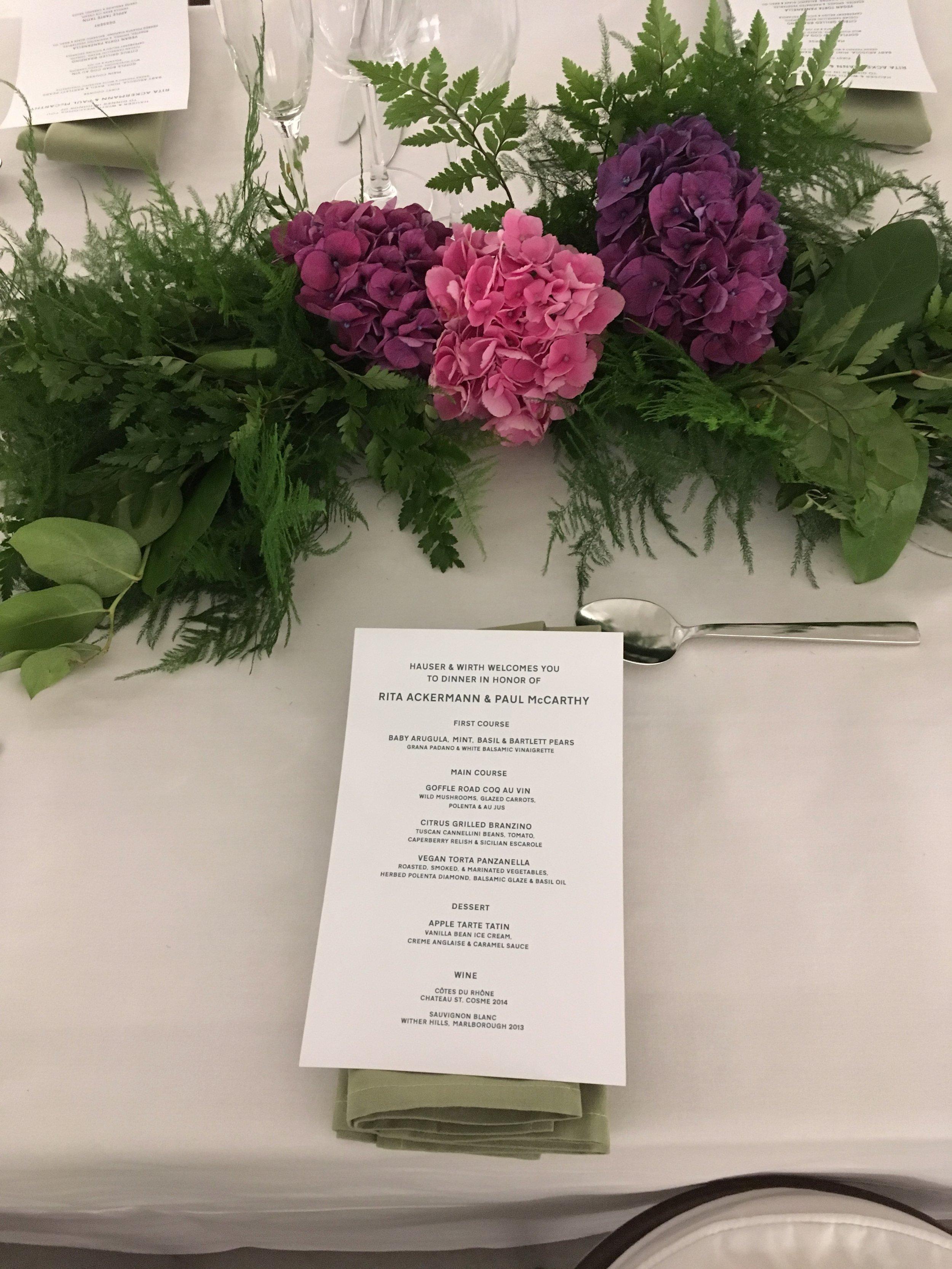 Rita Ackermann & Paul Mc Carthy Dinner at Hauser and Wirth