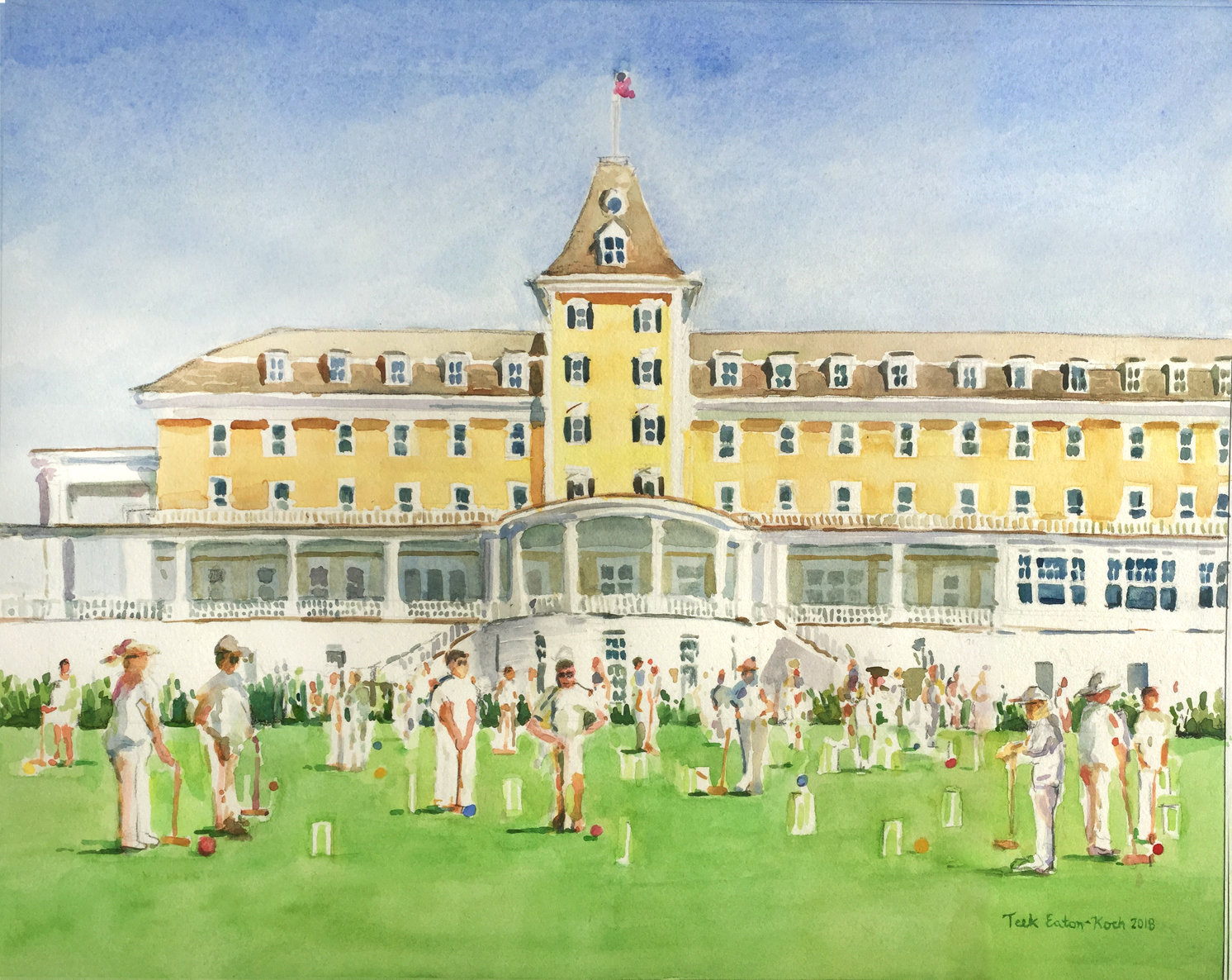 Watercolor of the  Special Olympics Croquet Tournament at Ocean House  - in Plein Aire