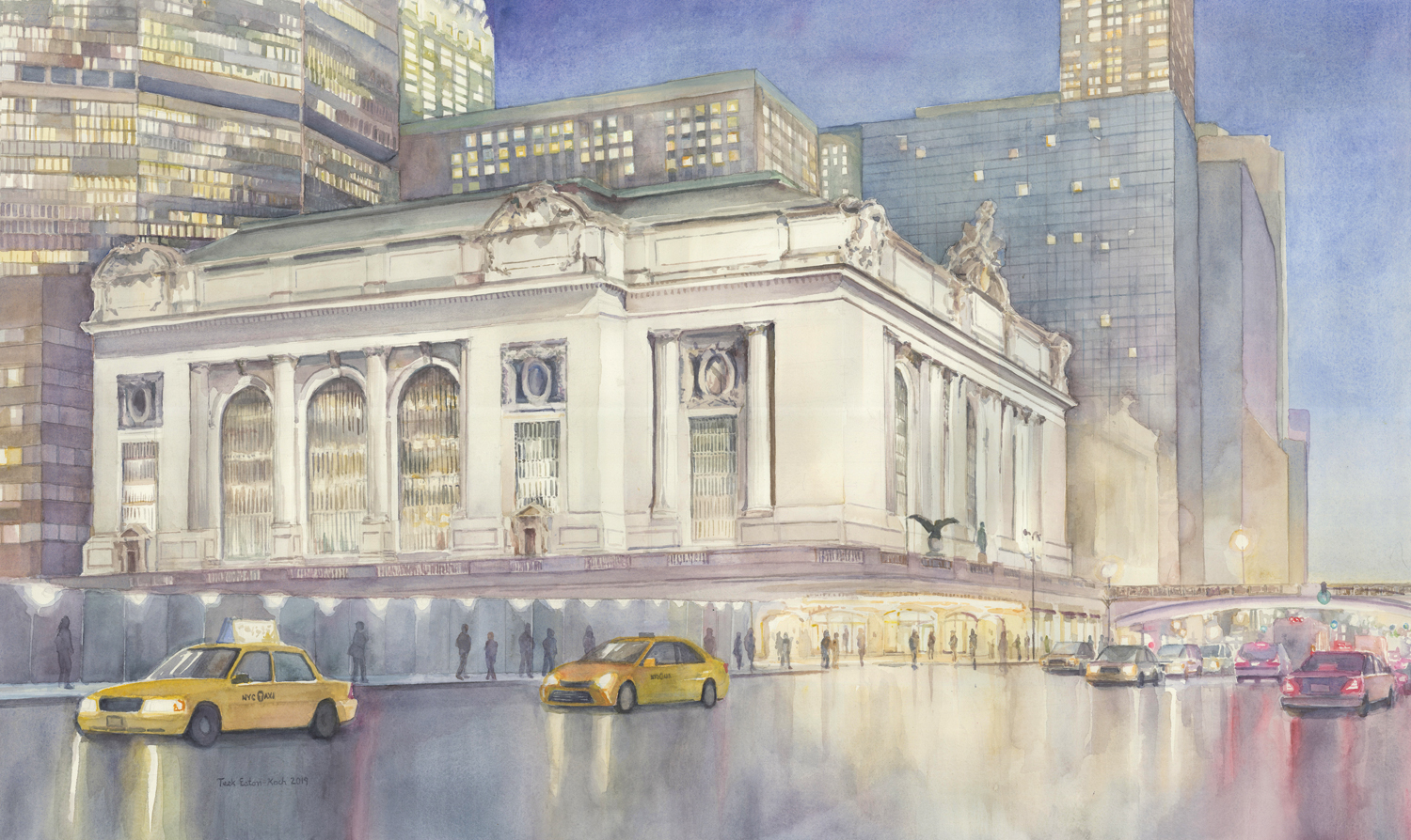 "Watercolor Rendering of the western facade of Grand Central Terminal 26"" x 40"" Available for Sale at Art to the Avenue"