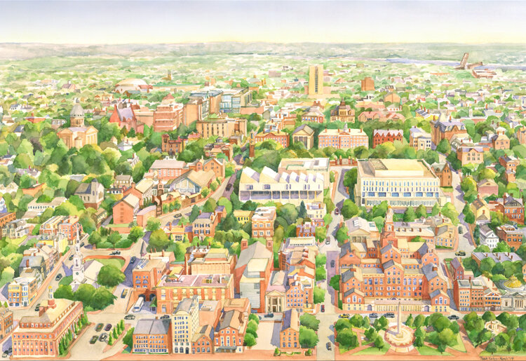 """Prints of my Watercolor of College Hill will be available for sale at RISD CRAFT.  Prints will be 11"""" x 17"""" and 16"""" x 20"""""""