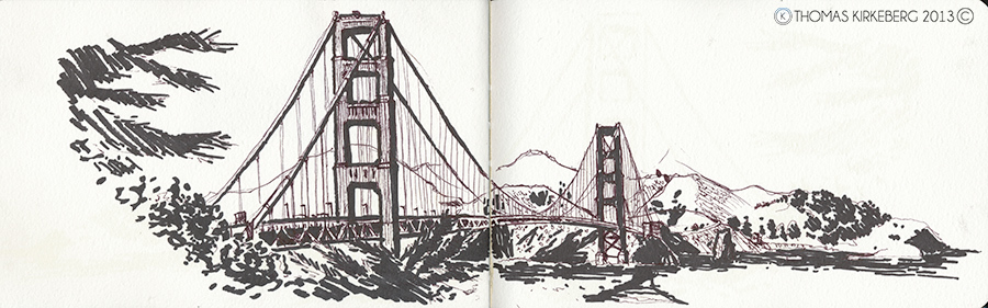 Unlike Washington D.C. San Francisco was quite chilly and perfect for some drawing, so I drew the Golden Gate Bridge.