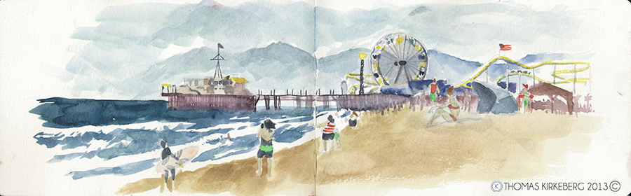 California in general was just about right when it came to the temperature for me and perfect to do some water colour painting. This is Santa Monica Pier at Venice Beach in Santa Monica, which is in L.A.county, not the city, though it is that too, except it isn't. Several cities in one city is interesting.